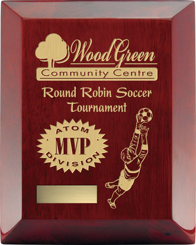 """Rosewood Wide Bevel"" Piano Finish Plaque"