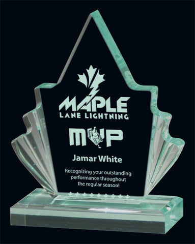 """Jade Maple Leaf"" Jade Acrylic Award"