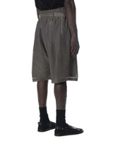 DECONSTRUCTED WAISTBAND SHORT PANTS ARTICHOKE