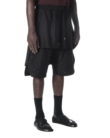 DRAWSTRING LAYERED SHORT PANTS BLACK