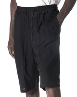 DOUBLE WAISTBAND PLEATED SHORT PANTS BLACK