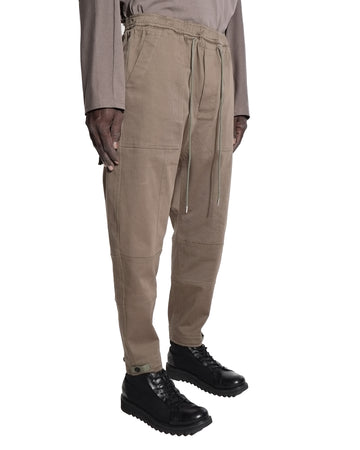 TWO FOLD STITCH DROP CROTCH PANTS NUTRIA