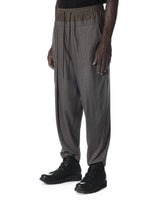 DOUBLE WAISTBAND PLEATED LONG TROUSERS LIGHT GREY