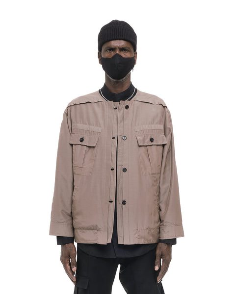 REVERSIBLE COLLARLESS WORKER JACKET BLACK AND SAND