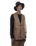 COLLARLESS VEST SAND AND BROWN