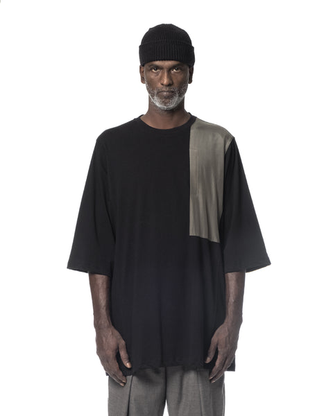 POCKETED LONG T-SHIRT BLACK & ARMY GREEN