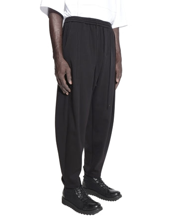 FLEECED PLEATED HEM JOGGER BLACK