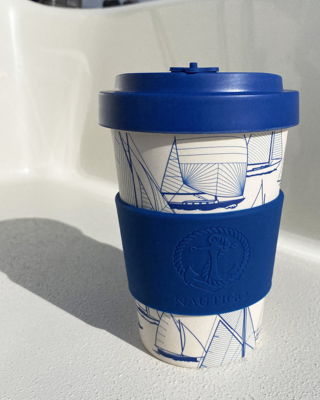 "Bamboo Travel Mug ""Sail Away"""