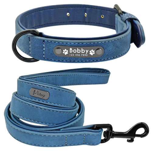 Pidog Blue Personalised Leather Dog Kcollar Set