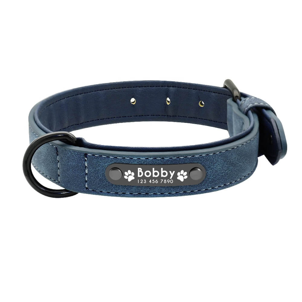 Pidog Blue Personalised Leather Dog Kcollar