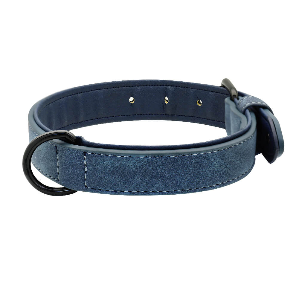 Pidog Blue Leather Dog Kcollar