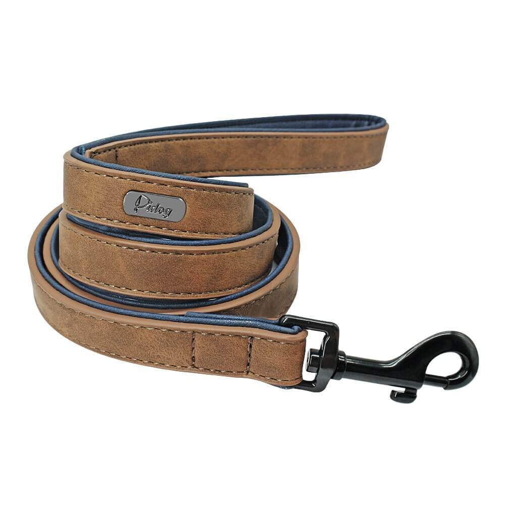 Pidog Coffee Leather Dog Leash
