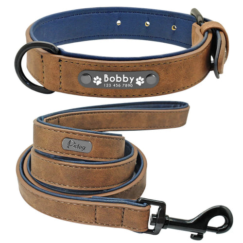 Pidog Coffee Personalised Leather Dog Kcollar Set