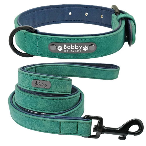 Pidog Green Personalised Leather Dog Kcollar Set