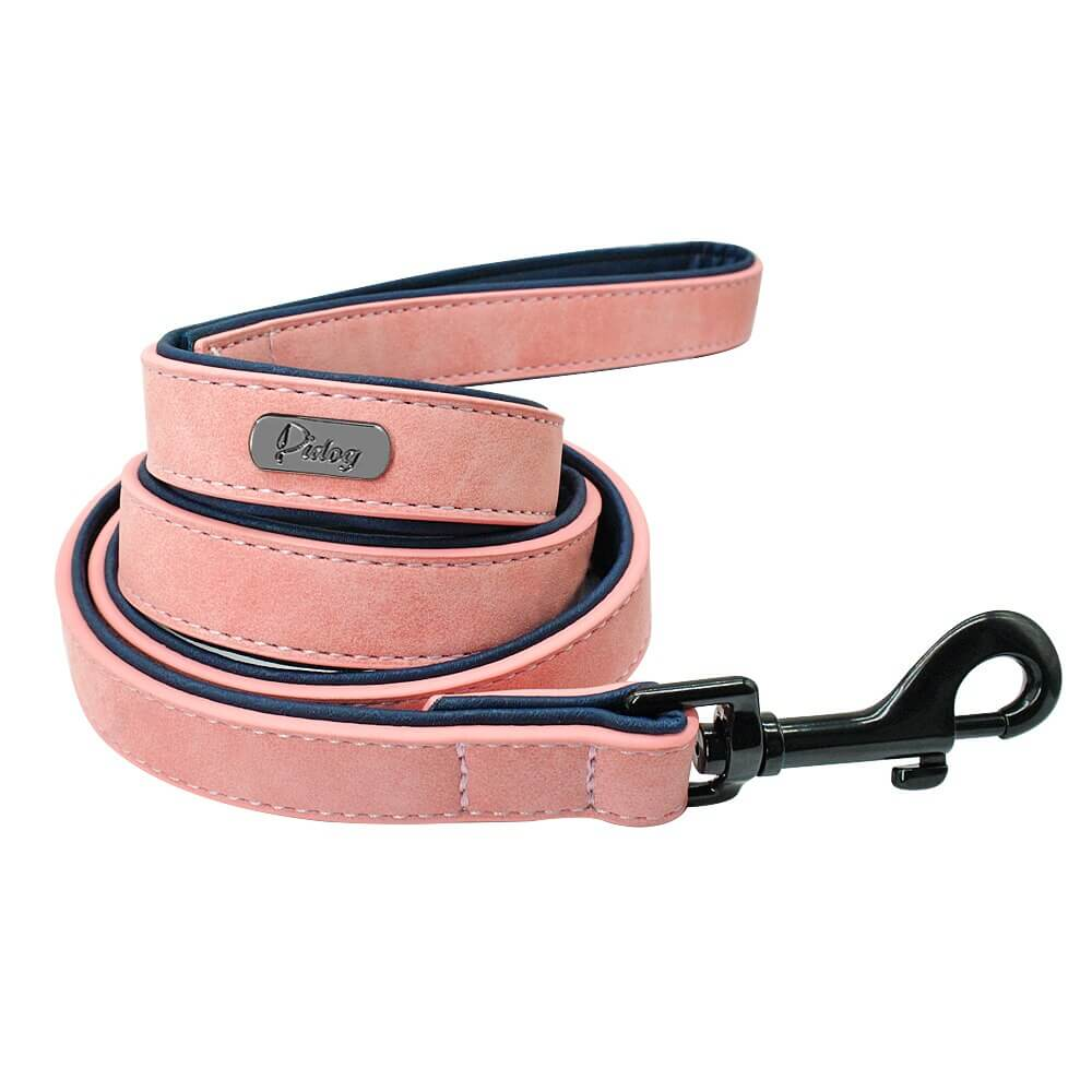 Pidog Pink Leather Dog Leash