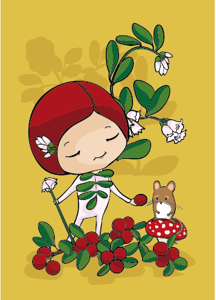 Lingonberry postcard