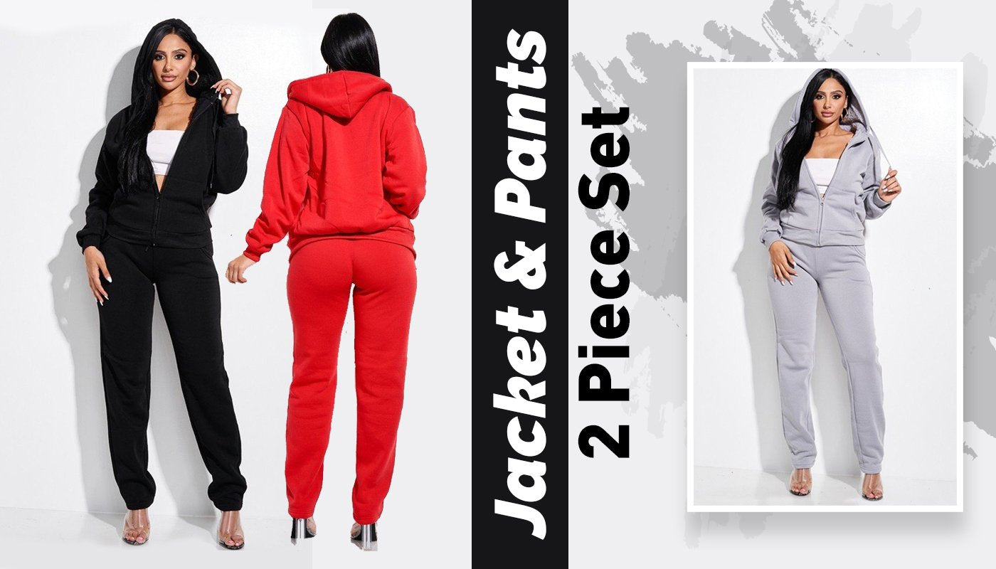 woman jackets red, black, gray
