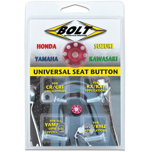 BOLT UNIVERSAL SEAT BUTTON (HON/SUZ/KAW/YAM) RED