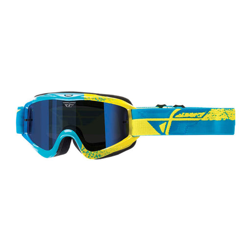 FLY ZONE GOGGLE - BLUE / HI-VIS WITH BLUE MIRROR LENS
