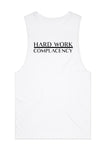 Hard Work Muscle Tank -White