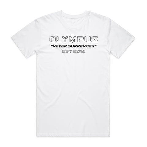 Never Surrender Outline Tee - White