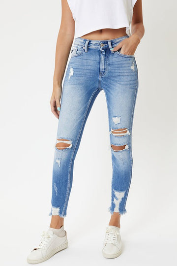Kan Can High Rise Distressed Ankle Skinny Jeans
