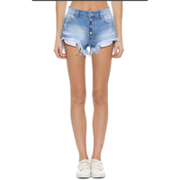 Cello Light Wash Distressed Denim Shorts