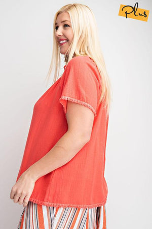 Hot Coral Gauze Top