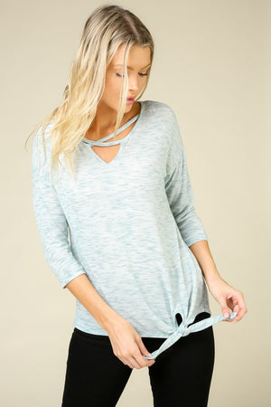 Heathered Mint Side Tie Top