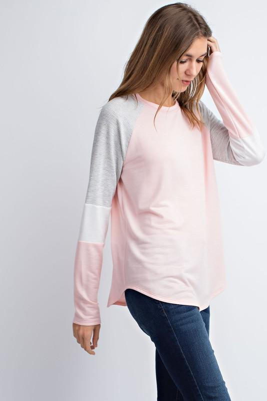 Terry Pink and Stripe Top