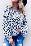 Leopard Feather White Sweater
