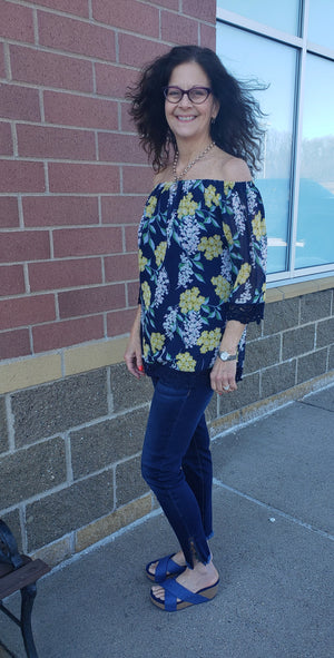 Navy Yellow Floral Top