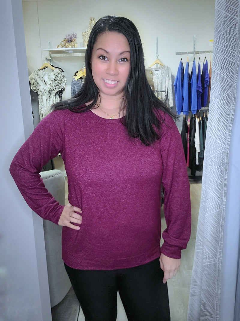 Cranberry Brushed Long Sleeve