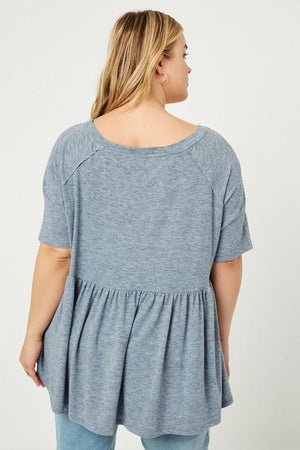 Heathered Baby Doll Top
