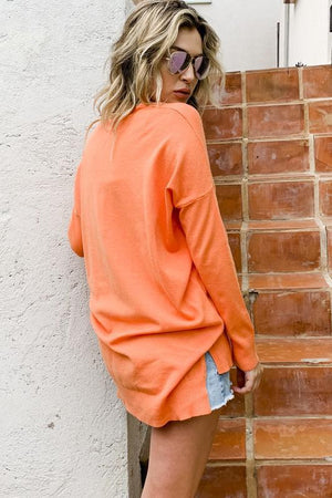 Cozy Orange V Neck Long Sleeve