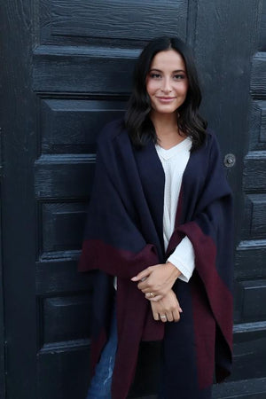 Ava Red And Navy Cape