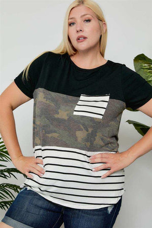 Camo and Stripe Pkt Tee