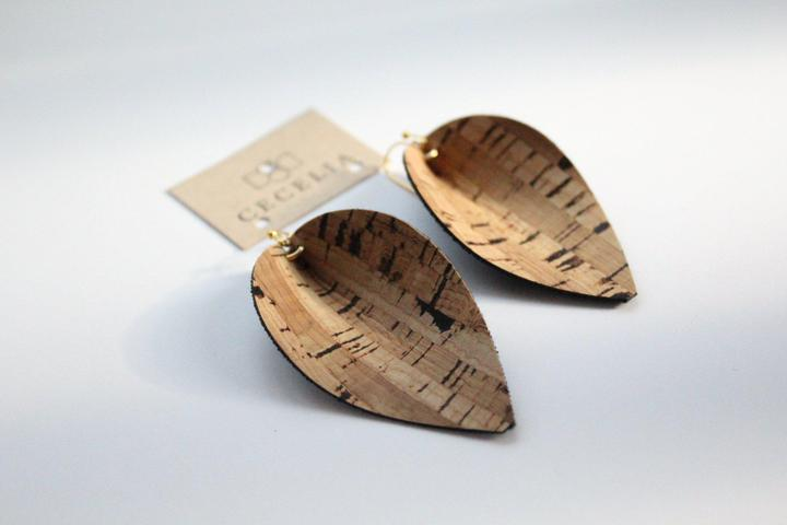 Cork Leaf Leather Earrings