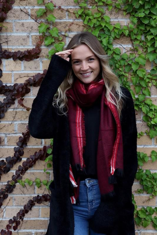 Red Stripe Nache Long Scarf
