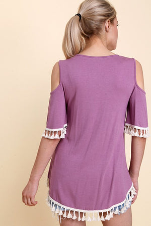 Cold Shoulder Tassel Top