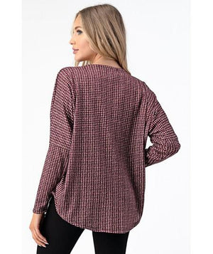Red Dolman Sleeve Zipper Top