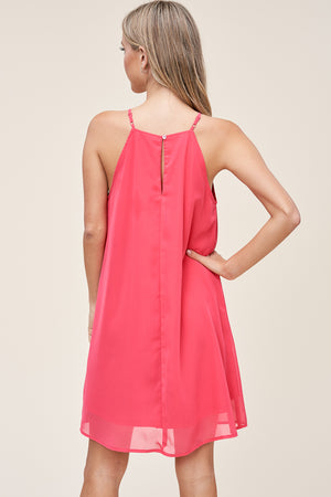 Coral Pleated Halter Neck Dress