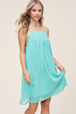 Mint Pleated Halter Neck Dress