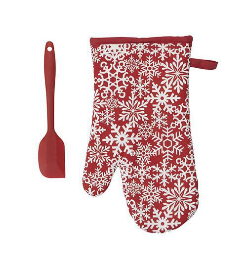 Snowflake Kitchen Mitt & Spatula Set
