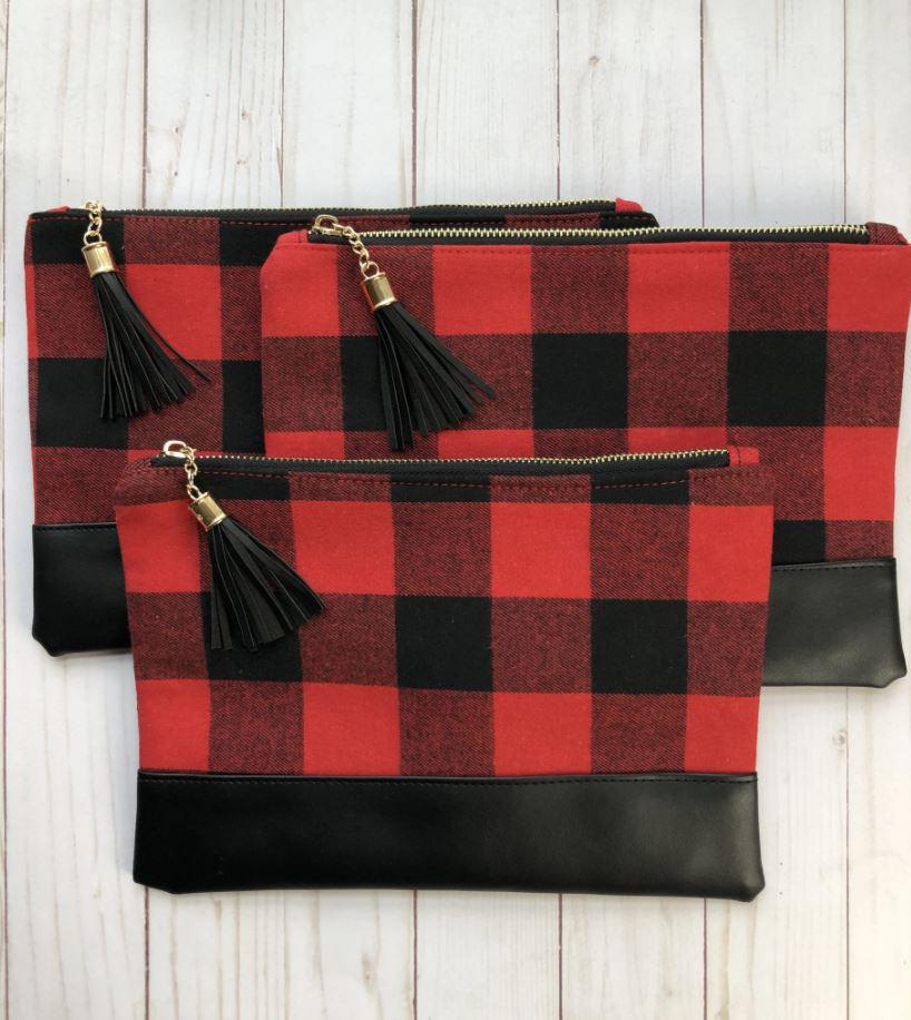 Zip Clutch Buffalo Plaid