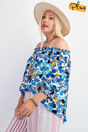 Blue Off Shoulder Crepe Top