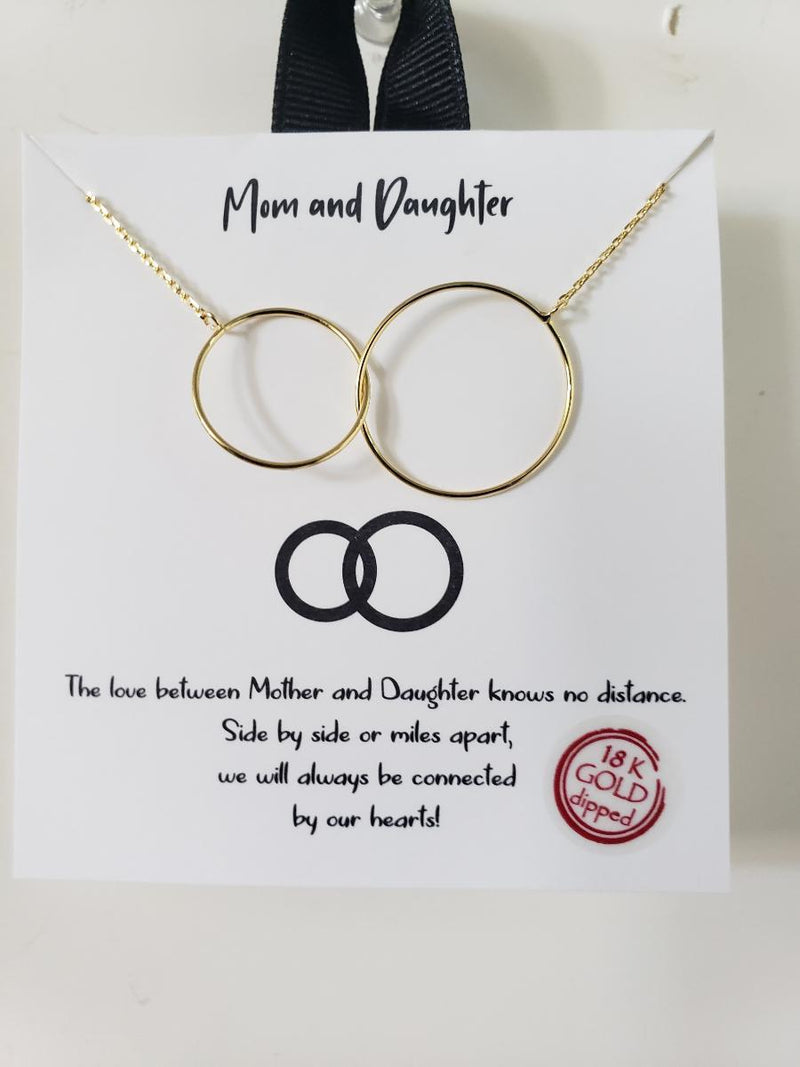 Mom and Daughter Necklace 18K Gold Dipped