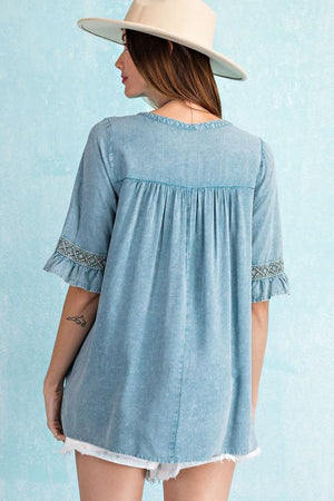 Faded Teal Embroidered Top