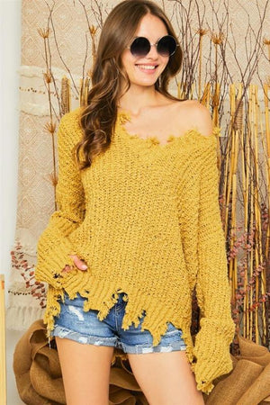 Distressed Mustard Sweater