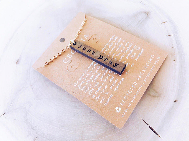 Wood Affirmation Necklace- Just Pray